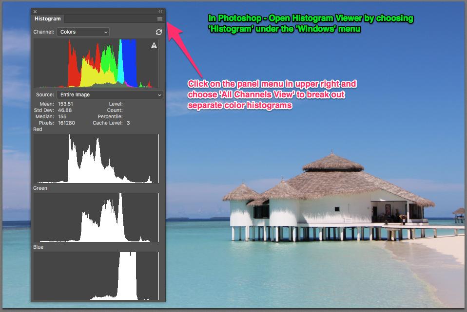 The Histogram Viewer is found under the Windows menu in Photoshop