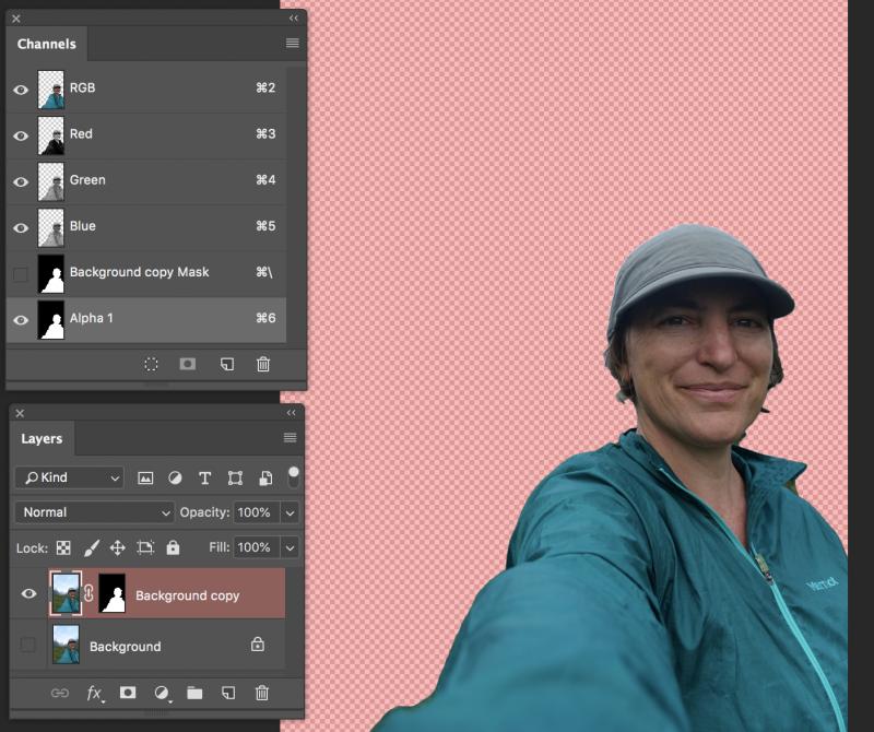 selfie w alpha channel