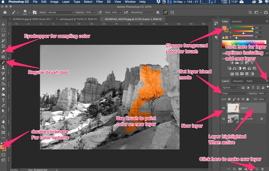 PS interface with basic locations for colorization
